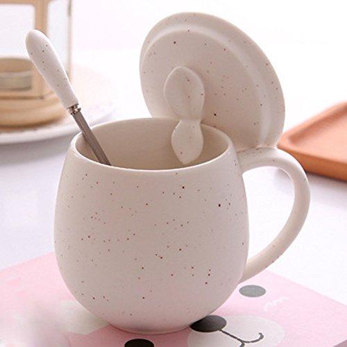 AJUNR-Home Office Water Cup Kreative Persönliche Tasse Einfach Kaffee Tasse Keramik Becher Mit Deckel Lufthutze Milch Wasser Schüssel Weiß (Weiße Milch Schüssel)