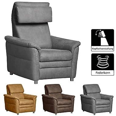 Cavadore Sessel Chalsay inkl. verstellbarem Kopfteil / mit Federkern / TV-Sessel grau / modernes Design / Größe: 90 x 94 x 92 cm (BxHxT) / Farbe: Grau (argent)