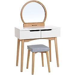 Songmics Tocador con Espejo moderno redondo Cajón grande con corredera Taburete Funda para taburete lavable Blanco-Madera clara RDT11K