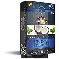 FumandoEspero Hierbas Premium Delta para shisha SIN NICOTINA - Sabor: Menta y Coco (50 gr) - Sustitutivo de tabaco sin nicotina para cachimba