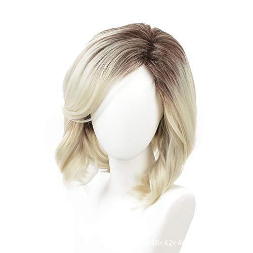 Frau Gradient Blond Kurz Welle Perücken Gradient Dunkel Wurzeln Zu Blond Haar Matt Synthetik Hitzebeständig Ballaststoff Zum Täglicher Gebrauch Cosplay Kostüm-Party