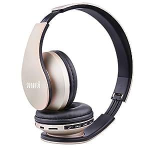 Sunvito 4 in 1 Cuffia Bluetooth Pieghevole Wireless Auricolari con Mic,Lettore MP3, Radio FM, Auricolare Collegato, Cuffie Over Ear Stereo per iPhone, Samsung,iPad,Android,Portatili,PC-Oro