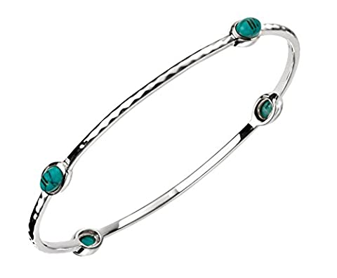 Ladies Sterling Silver Turquoise Bangle With Textured Pattern - British Made - Hallmarked