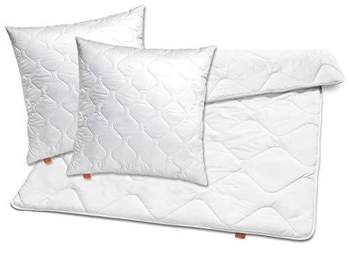 sleepling 196149 Bettwaren-Set Basic 120 2 x Kopfkissen 80 x 80 cm + Ganzjahresdecke 200 x 220 cm Mikrofaser medium, weiß -