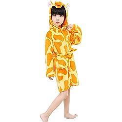 Niños Jirafa Albornoz Franela con Capucha Pijamas Cosplay Disfraces Animales Unisex Vestido