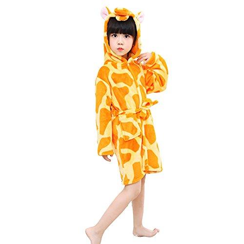 Mystery&Melody Kinder Giraffe Bademantel Flanell mit Kapuze Pyjamas Cosplay Kostüme Unisex Tiere Kleid (Kostüm Giraffe Mädchen)