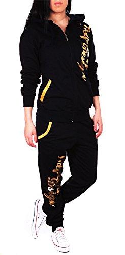 Damen Jogginganzug Jogging Hose Jacke Sportanzug Sporthose Fitness Hoodie Hose schwarz/gold XL [44]