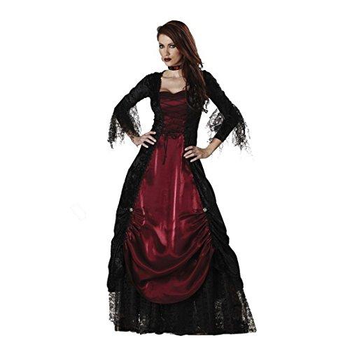 üm Vampir langes Vampir rotes Kostüm Kleid mit langen Ärmeln schwarzer Spitze Oberfläche, Größe M (Gräfin Dracula Kostüme)