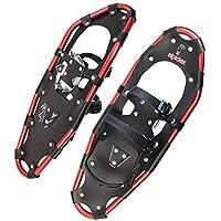 ALPIDEX Raquetas Nieve Aluminio Bolsa Incluida Bastones Aluminio Opcional Hombre Mujer, Color:Black/Red 25