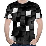 UJUNAOR Herren 3D Formula Three-Dimension Gedruckt Hemd Kurzarm Shirt Rundhalsausschnitt Slim Fit(Schwarz,M)