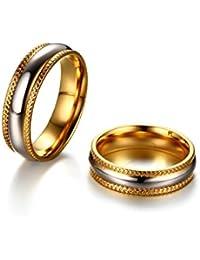SonMo Anillo Oro Matrimonio Acero Inoxidable Anillos para Hombre y Mujer Anillo Biocolor Dos Tono