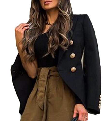 Damen Slim Fit Blazer Solid Work Double Breasted Crop Jacket Gr. 36, Schwarz -