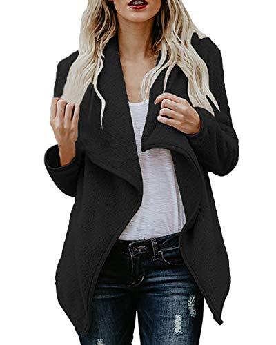 ACHIOOWA Donna Cappotto Invernale Giacca Elegante Breve Blazer Cappotto Nero S