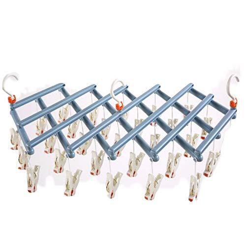 Dwthh 5 stücke Sekunden erhalten kleiderständer Winddicht Multi-fold klapp teleskop multifunktions Kunststoff 29 Clip Roller wäscheständer Hause