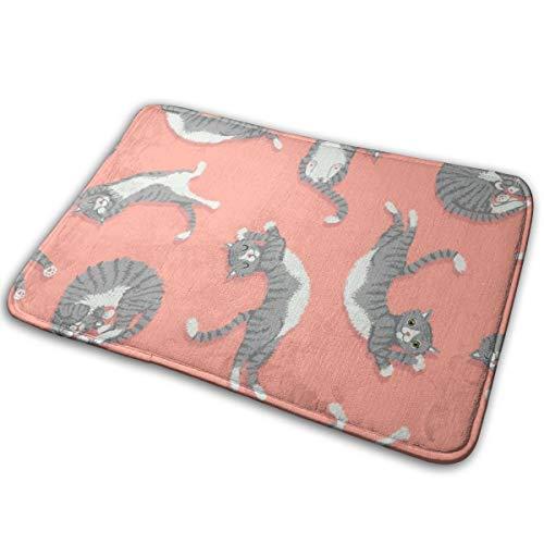 show best Grey Cats On Peachy Pink Original Durable Rubber Door Mat Heavy Duty Doormat Indoor Outdoor Waterproof Easy Clean Low-Profile Mats (15.7 X 23.6 ()