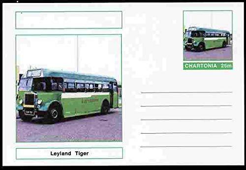 Chartonia (Fantasy) Buses & Trams - Leyland Tiger Bus postal stationery card unused and fine TRANSPORT BUSES JandRStamps Leyland Tiger