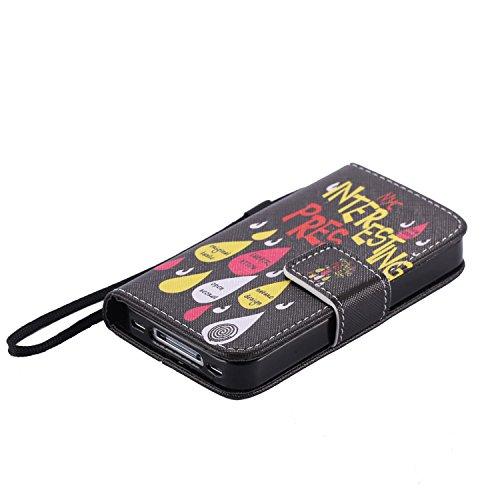 Nancen Apple iphone 4 / 4S (3,5 Zoll) Hülle, Flip-Case PU Leder Handytasche - Praktisches Design mit Magnetverschluss Standfunktion Brieftasche und Karten Slot Hochwertige Wallet Etui /Lederhülle / Ha Bunt Regentropfen