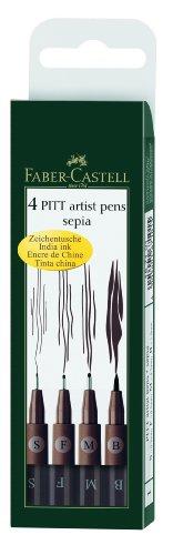 Faber-Castell 167101 - Tuschestift PITT artist pen, 4er Packung, Inhalt: S, F, M, B, sepia