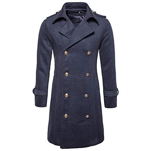 KPILP Herren Warme Winter Trench Revers Woolen Elegante Lange Outwear Zweireiher Windjacke Revers Smart Mantel(G-dunkelgrau,EU-56/CN-L)