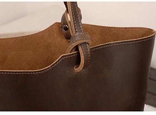 Meijia-Borsa a spalla in pelle, stile Vintage, motivo borsette e i portamonete da donna Tote-Borsa a tracolla Marrone (Caffè)