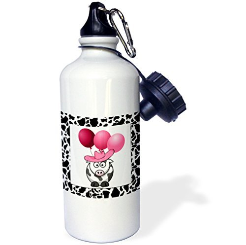 Sports Water Bottle Gift for Kids Girl Boy, Western Cow Print With Pink Balloons Stainless Steel Water Bottle for School Office Travel 21oz (School Western)
