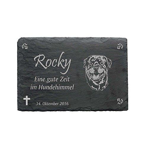 Gedenktafel « ROTTWEILER » aus Schiefer - ca.22 x 16 cm - Wetterfeste Gravur 2