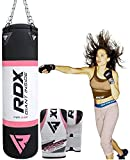 RDX Women Filled Punch Bag MMA Muay Thai Kick Boxing With Gloves Chain Martial Arts Training 4 ft Punching Bag, pink