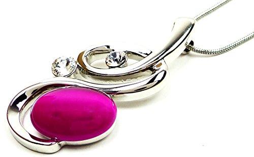 Preisvergleich Produktbild Halskette Damen Kette mit Swarovski Elementen! Halskette mit Anhänger Swan pink