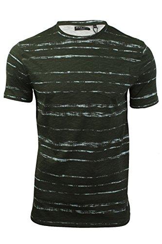 Brave Soul - T-shirt Homme col ras du cou Motif façon tie and dye (Kaki) M