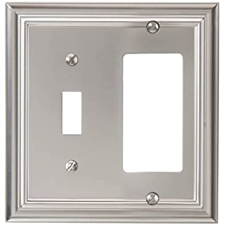 Amerelle 94TRN Continental Cast Metal Wallplate with 1 Toggle/1 Rocker, Satin Nickel