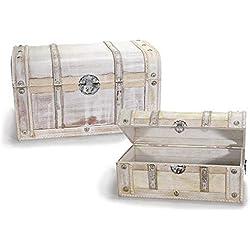 """'Set 2Maletas a Baúl """"Vintage, maletas de madera envejecido blanco"""