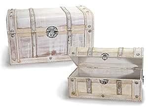ideapiu 39 set 2 koffer truhe vintage koffer aus holz antik wei k che haushalt. Black Bedroom Furniture Sets. Home Design Ideas