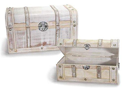 Ideapiu Set 2 valigie a Baule Vintage in Legno Anticato Bianco
