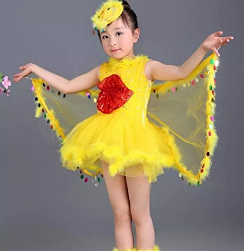 Kinder Vogel Kostüme Kinder gelben Vogel Tanz Kleidung behalten Vögel Tier Leistung Kostüm Dress up, 130cm, Yellow