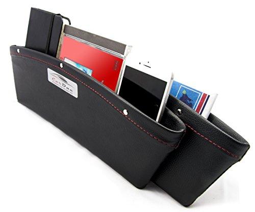 CarOne - 2er Set - Auto Organizer - Sitz Tasche - zwischen Mittelkonsole und Sitz - edle Lederoptik - Stauraum / Krümelfänger - einfache Reinigung - schwarz / rote Naht