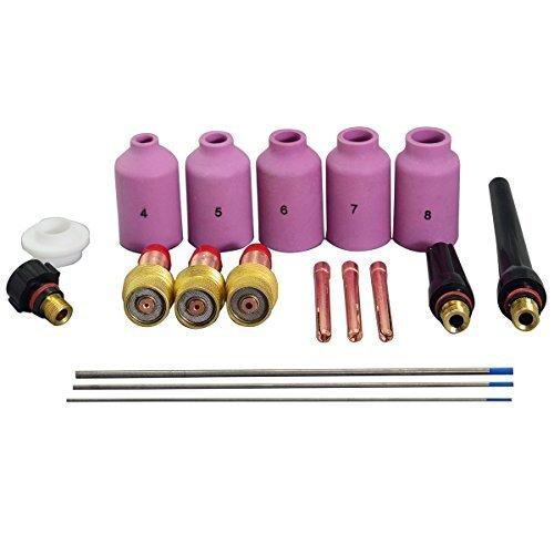 TIG gaz lentille collet corps et 2% TIG Lanthanated électrodes tungsten Assorted Kit Pour DB SR WP-17 WP-18 WP-26 TIG torche de soudage 18pcs