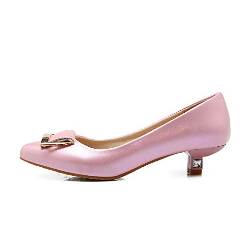 VogueZone009 Femme Pu Cuir Non Talon Pointu Couleur Unie Tire Chaussures à Plat Rose