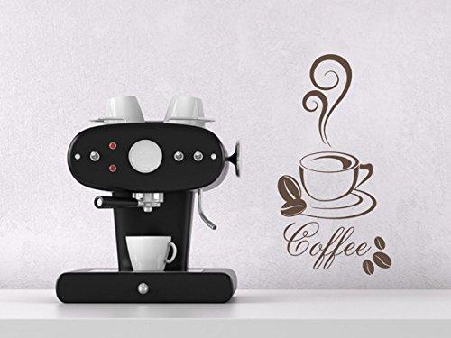 Wandtattoo Wandaufkleber Coffee Wandsticker Küche Esszimmer Kaffee Café 30 Farben + 5 Größen exklusiv von Wandtattoo-bilder® Farbe Rot, Größe 20x38 5 Tasse-kaffeemaschine Rot