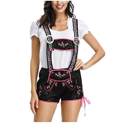 Grün Sexy Kostüm Tutu M&m - Damen Dirndl Set 3tlg Maid Outfit Cosplay kostüm für Bierfest, Frau Oktoberfest Karneval Fasching Hat+Overall+T-Shirt