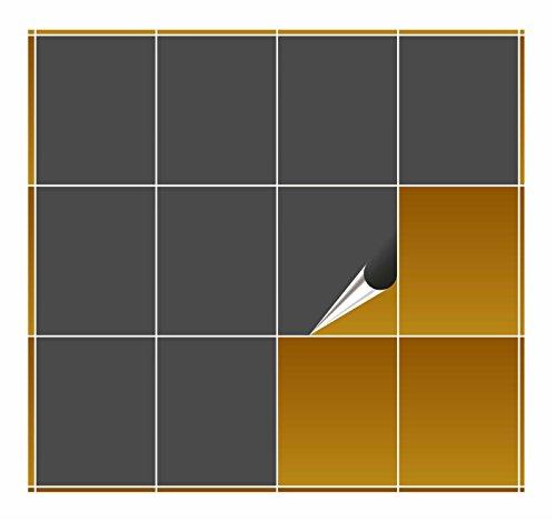 FoLIESEN Fliesenaufkleber für Bad und Küche - 20x25 cm - dunkelgrau matt - 4 Fliesensticker für Wandfliesen