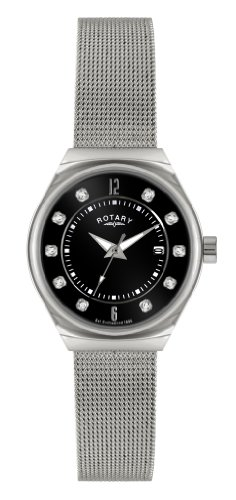 Rotary Women's Quartz Watch with Black Dial Analogue Display and Silver Stainless Steel Bracelet LB00033/AIR
