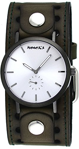 Nemesis CN222B Men's Brown Plated Silver Minimalist Dial Wide Leather Band Watch