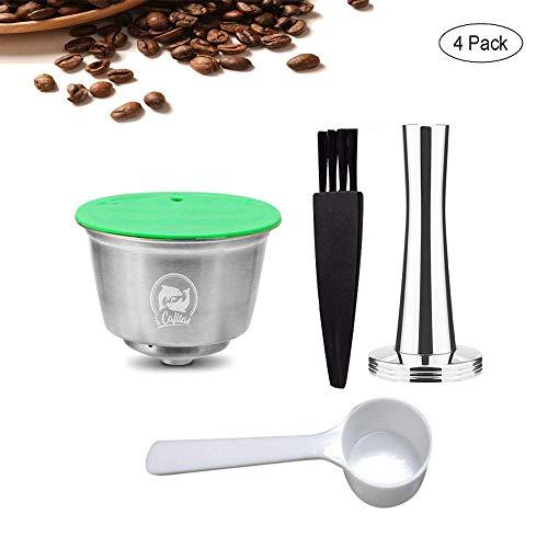 Kobwa capsule da caffè ricaricabili per dolce gusto capsula caffè riutilizzabile in acciaio inox con 1 caffè tamper+1 pennello+1 cucchiaio