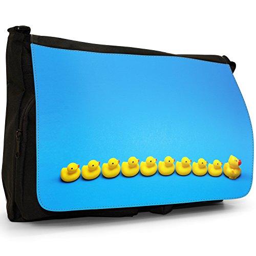 Lifetime-Paperelle di gomma per vasca da bagno Bubble, colore: nero, Borsa Messenger-Borsa a tracolla in tela, borsa per Laptop, scuola Nero (Rubber Ducks All In A Row)