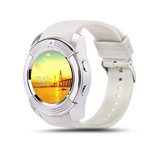 Welrock V8 Bluetooth Smartwatch Compatible with All Android Devices with Camera SIM Card Slot & Pedometer Display Touch Screen Microphone Touch Screen Watch for Android & iOS Devices (White)