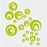 Kleb-drauf® - 21 Retro-Punkte/Grün - matt - Aufkleber zur Dekoration von Wänden, Glas, Fliesen und allen anderen glatten Oberflächen im Innenbereich; aus 19 Farben wählbar; in matt oder glänzend
