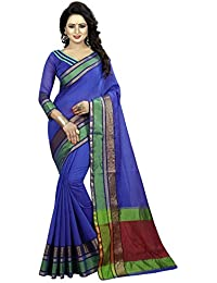 Blue Cotton Silk Woven Saree With Blouse