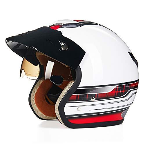 Motorradhelm Harley 3/4 für Erwachsene, DOT-Zertifiziert Männer und Frauen Offener Motorradhelm Anti-Kollisions-Jet-Helm Brille Visier Four Seasons Universal, Weiß,M