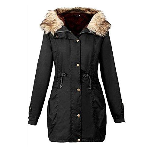 BHYDRY Damen Jacke mit Kapuze Winter Long Coat Größe Outwear ()