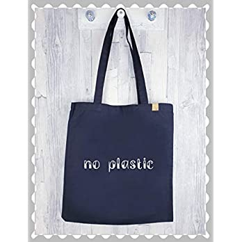 """Stoffbeutel aus Baumwolle""""no plastic"""", Stofftasche, Shopper, Henkeltasche, Tasche, Baumwollbeutel, Beutel, Jutebeutel, ökologisch, by Miss Nadelöhr"""